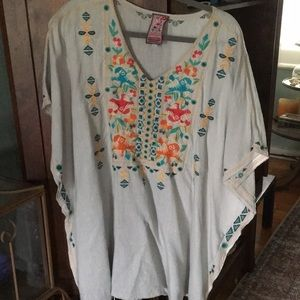 Johnny Was embroidered poncho
